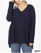 Curvy Thermal Hi-Low V-Neck Sweater - Navy
