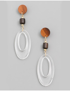 Clear Oval Drop Earrings