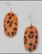 Animal Print Oval Drop Earrings
