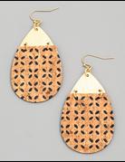 Cork Texture Teardrop Earrings