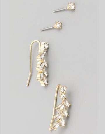 Mini Leaf Petal Earrings Set