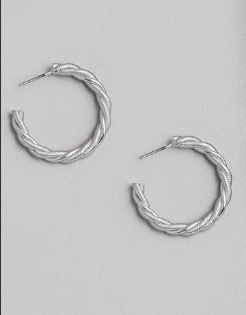 Twist Texture Open Hoop Earrings