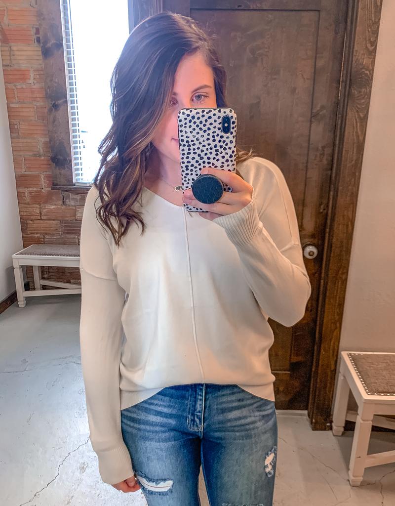 Hi-Low Front Seam Sweater - Bone