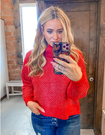 Turtleneck Cropped Sweater - Ruby