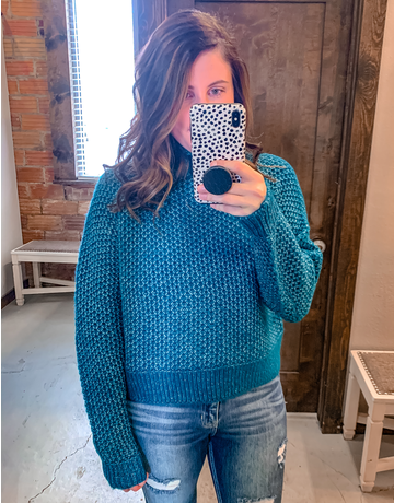 Turtleneck Cropped Sweater- Teal