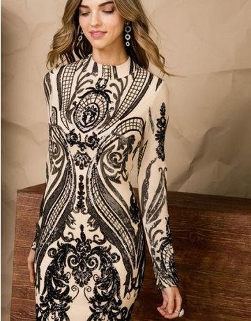 Sequin & Mesh Long Sleeve Dress