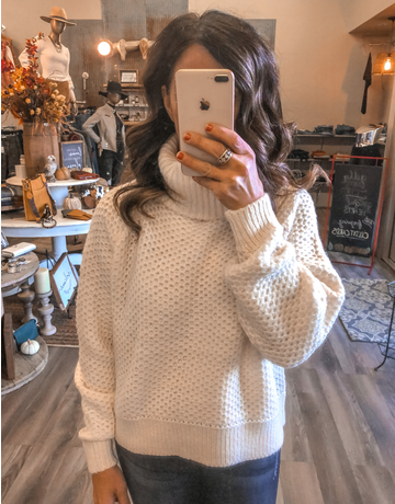 Turtleneck Cropped Sweater - Cream