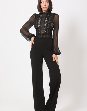Lace Front Puff Sleeve Jumpsuit
