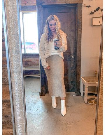 Side Slit Knit Sweater Skirt