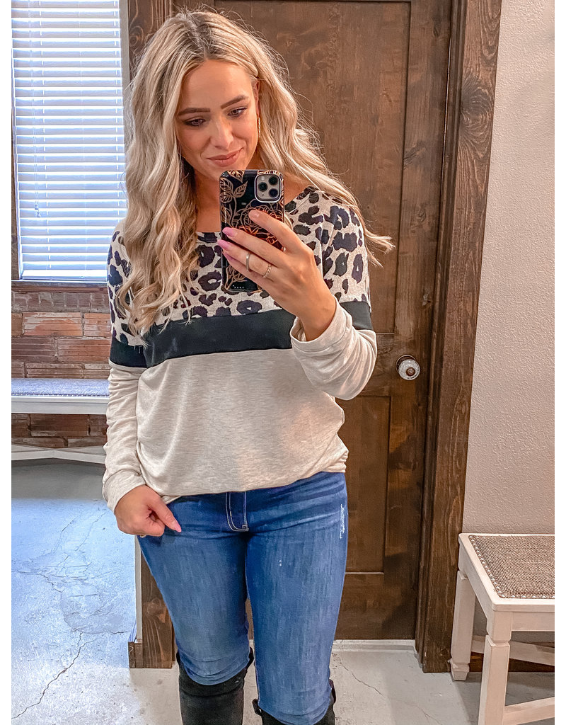 Leopard French Terry Wide Neck Top