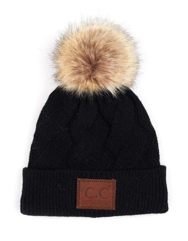 C.C Geometric Cable Beanie Hat - 2 Colors