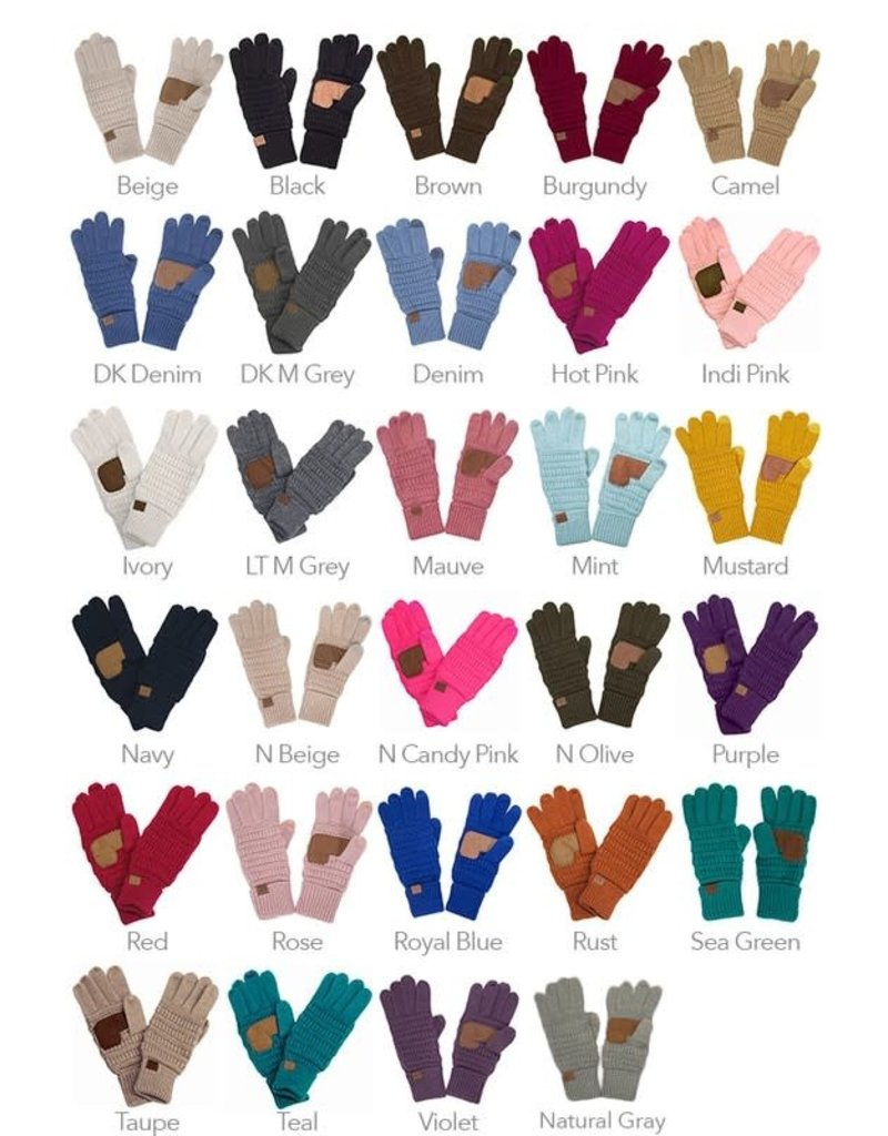 C.C Knitted Touch Screen Compatible Gloves - 12 Colors