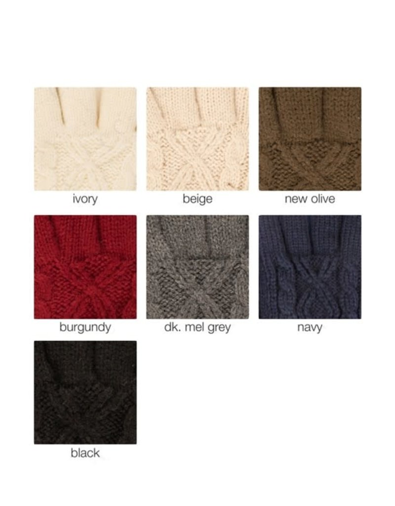 C.C Cable Knit Folded Cuff Gloves - 3 Colors