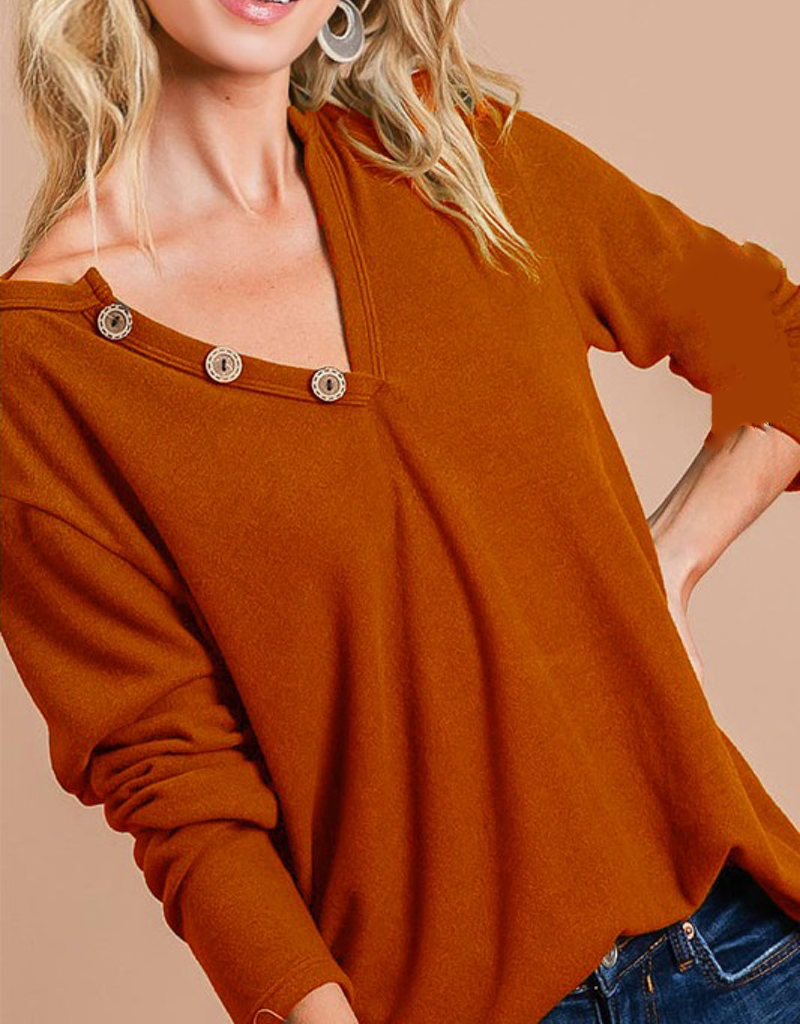 Long Sleeve Button Detail Top