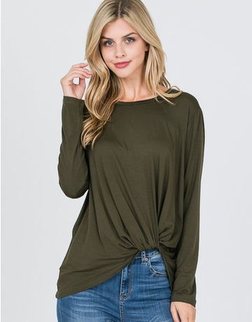 Modal Tie Knot Front Long Sleeve Top