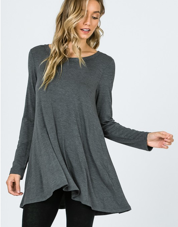 Modal Long Sleeve Flare Long Top