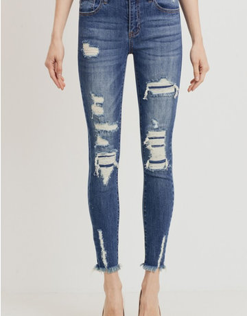 Mid-Rise Distressed Skinny w/Underlay