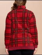 Half-Zip Plaid Printed Pullover