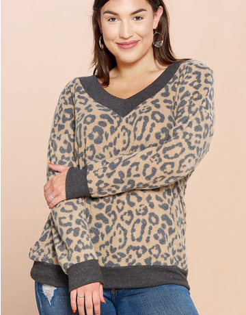 Leopard Printed Hacci Knit Sweater