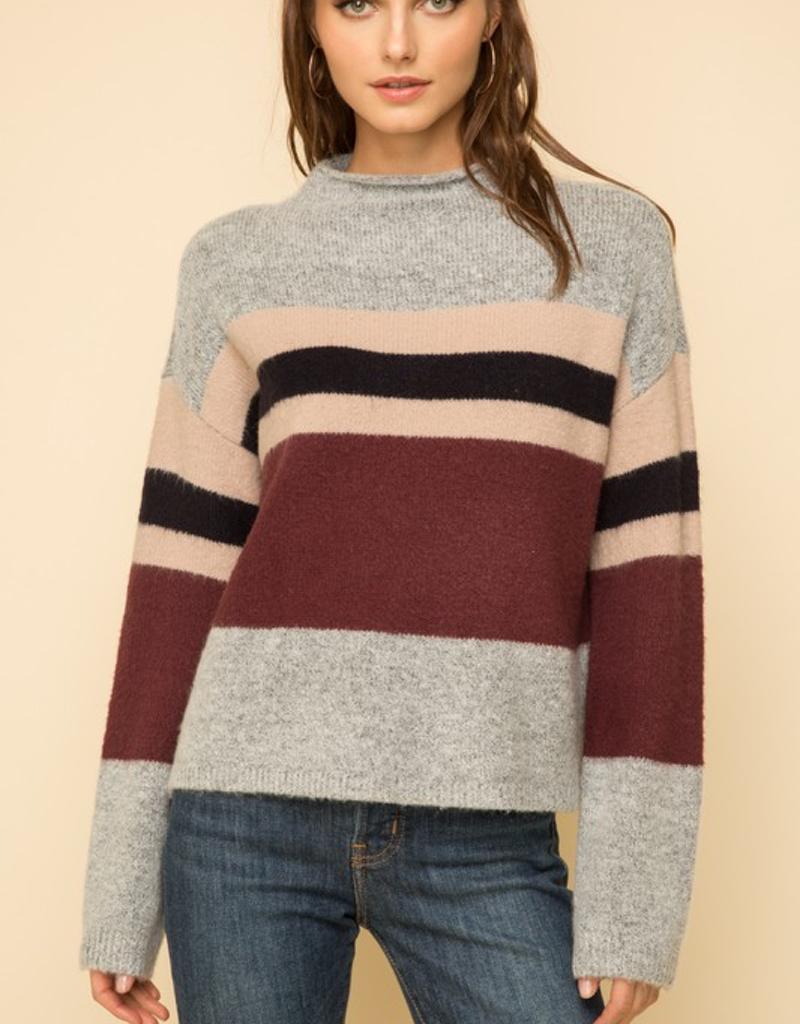 Mock Neck Bell Sleeve Crop Sweater