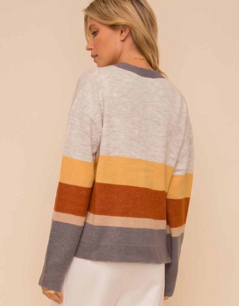Color Block Striped Cardigan