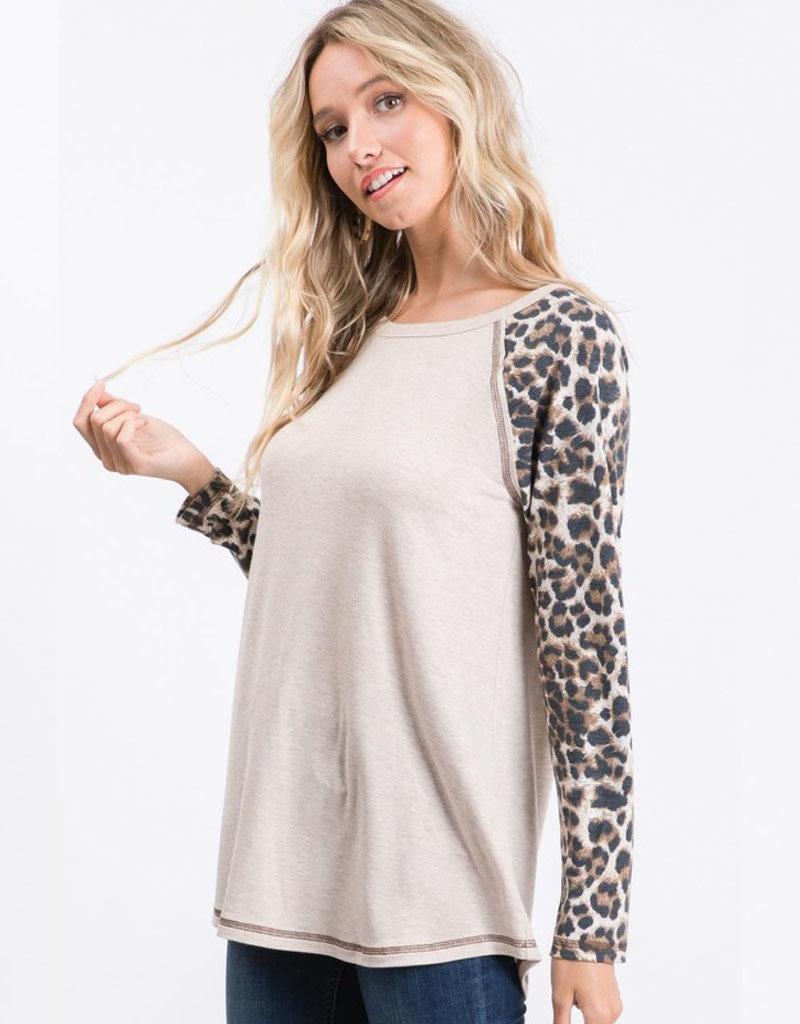 Leopard Sleeve Raglan Top