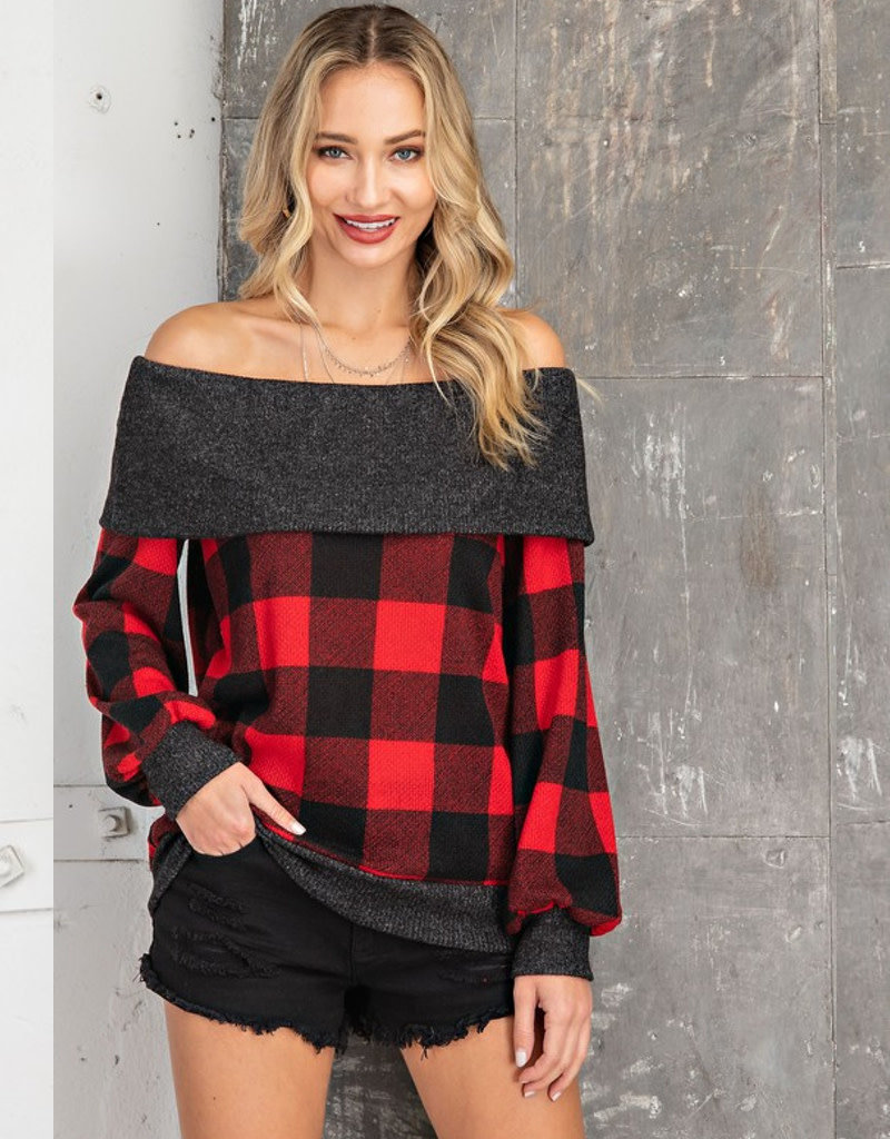 Buffalo Plaid Off Shoulder Top