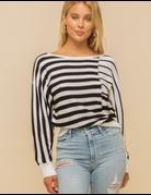 Boat Neck Stripe Mix Sweater