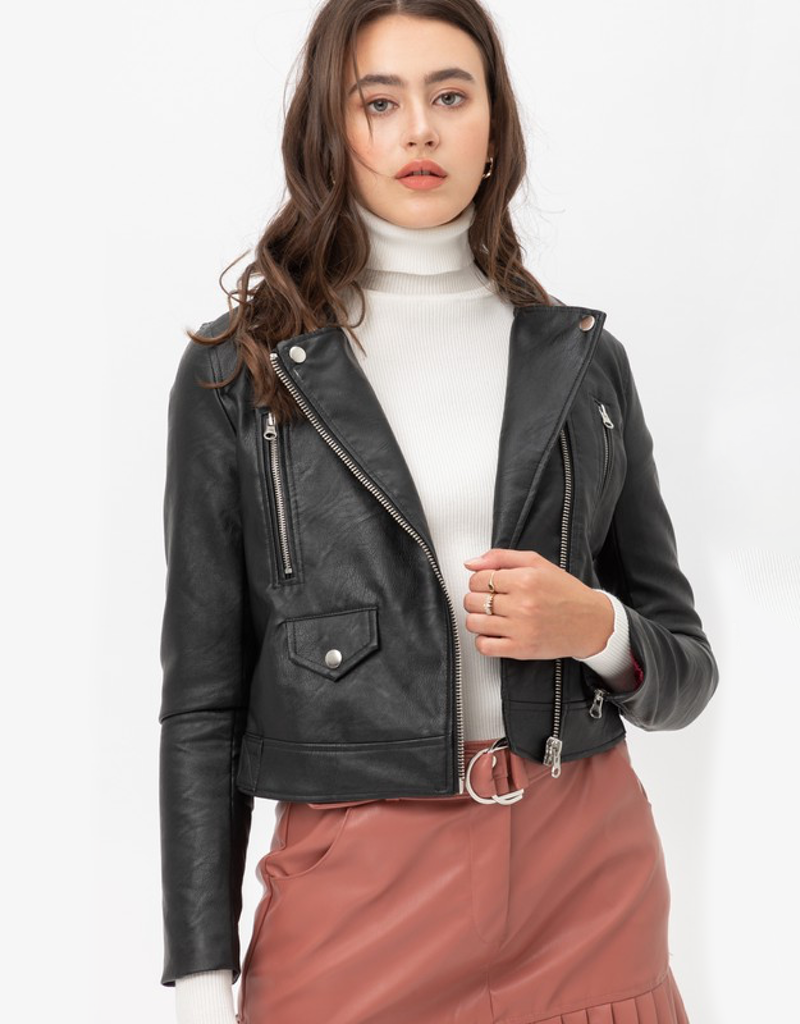 Faux Leather Zip Up Front Biker Jacket