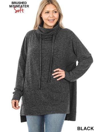 Curvy Funnel Neck Side Slit Sweater - Black