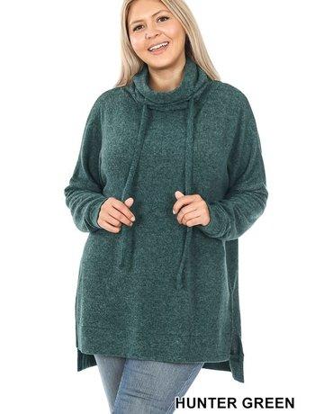 Curvy Funnel Neck Side Slit Sweater - Hunter Green