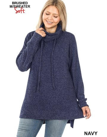 Curvy Funnel Neck Side Slit Sweater - Navy