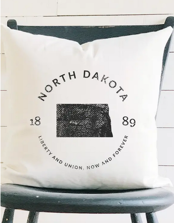 ND State Badge & Motto Canvas Pillow