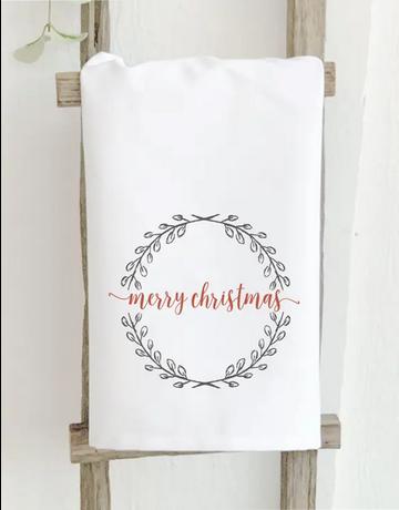 Merry Christmas Wreath Towel