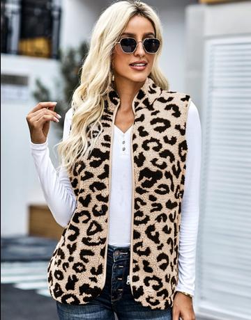 Leopard Sherpa Jacket Vest