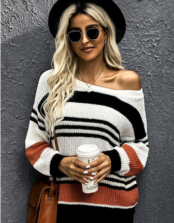 Striped Pattern Knit Sweater