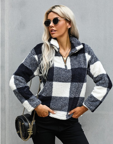Checkered Half Zip Pullover