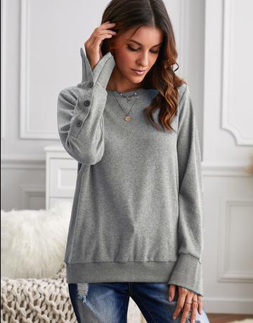 Cuff Buttoned Sweatshirt