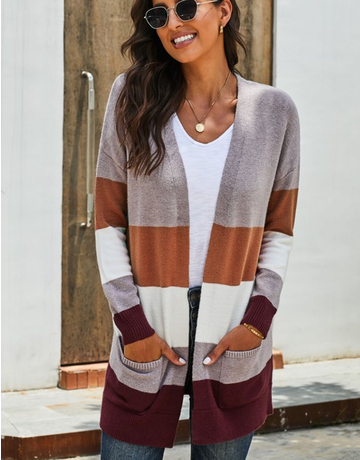 Colorblock Cardigan with Pockets