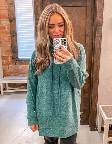 Funnel Neck Side Slit Sweater - Hunter Green