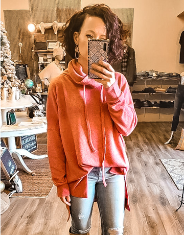Funnel Neck Side Slit Sweater - Rose
