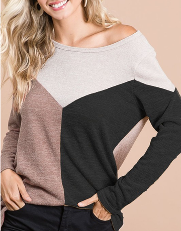 Sweater Knit Color Block Top