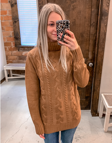 Braided Turtleneck Sweater - Deep Camel