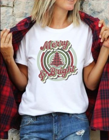 Merry And Bright Retro Circle