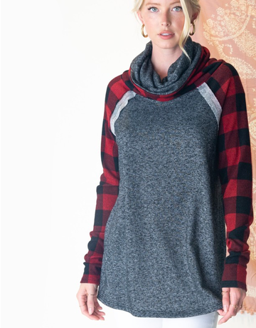 Solid Checkered Cowlneck Top