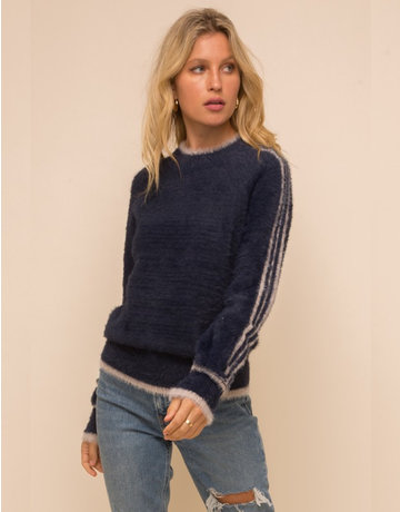 Stripe Detailed Mock Neck Fuzzy Sweater