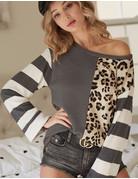 Leopard & Striped Blocked Long Sleeve