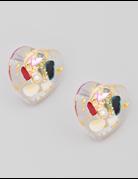 Clear Heart Post Earrings