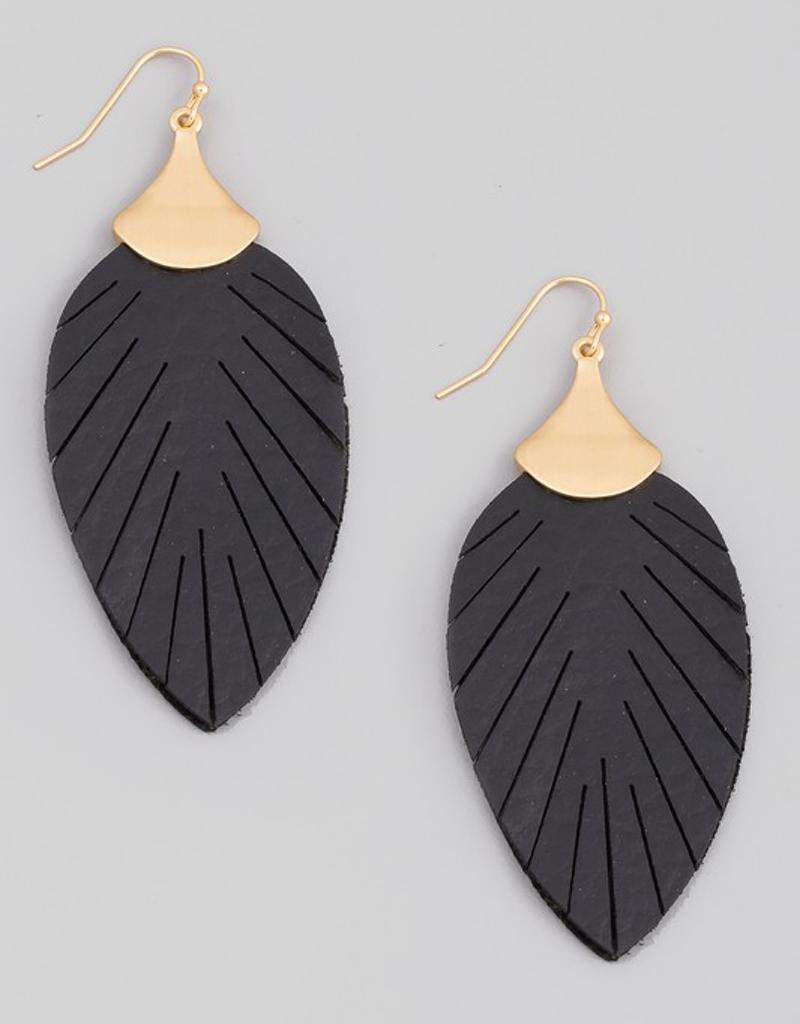 Faux Leather Leaf Drop Earrings