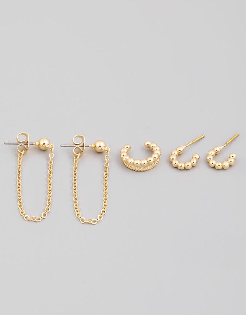 Ball Bead Post Hoop Earrings Set
